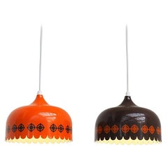 Set of Orange & Brown Pendants by Kaj Franck for Danish Fog & Mørup, 1970s
