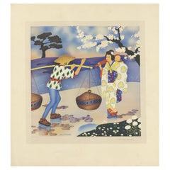 Antique Print 'A Japanese Greeting' by W. Schermelé, 1937