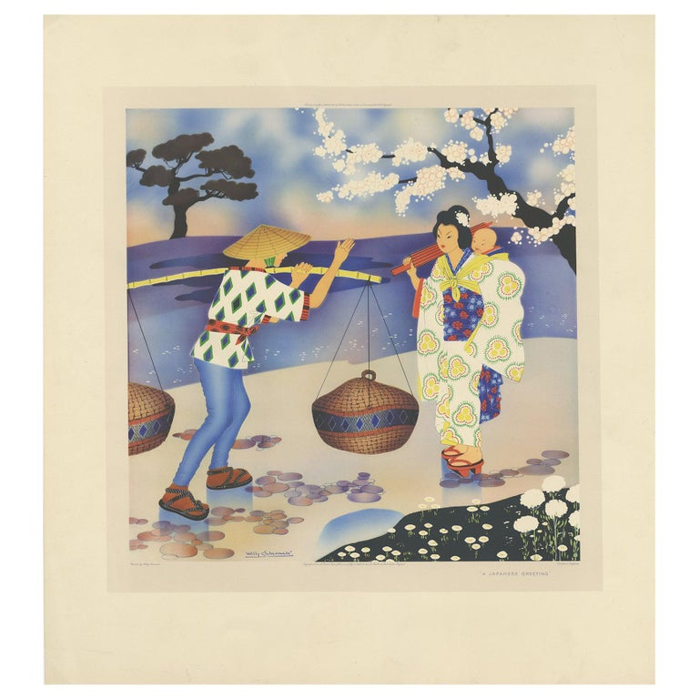 Antique Print 'A Japanese Greeting' by W. Schermelé, 1937 For Sale