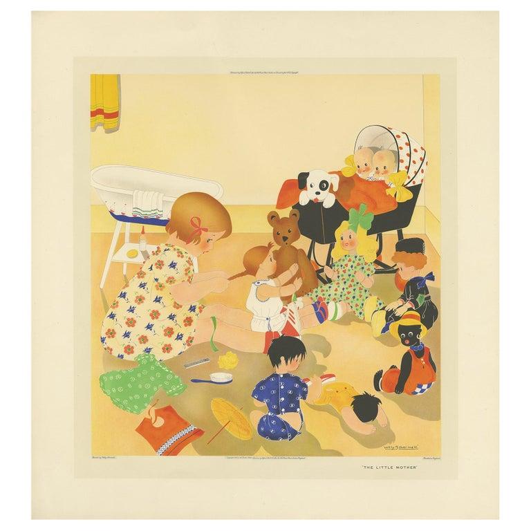 Antique Print 'The little Mother' by W. Schermelé, 1937 For Sale