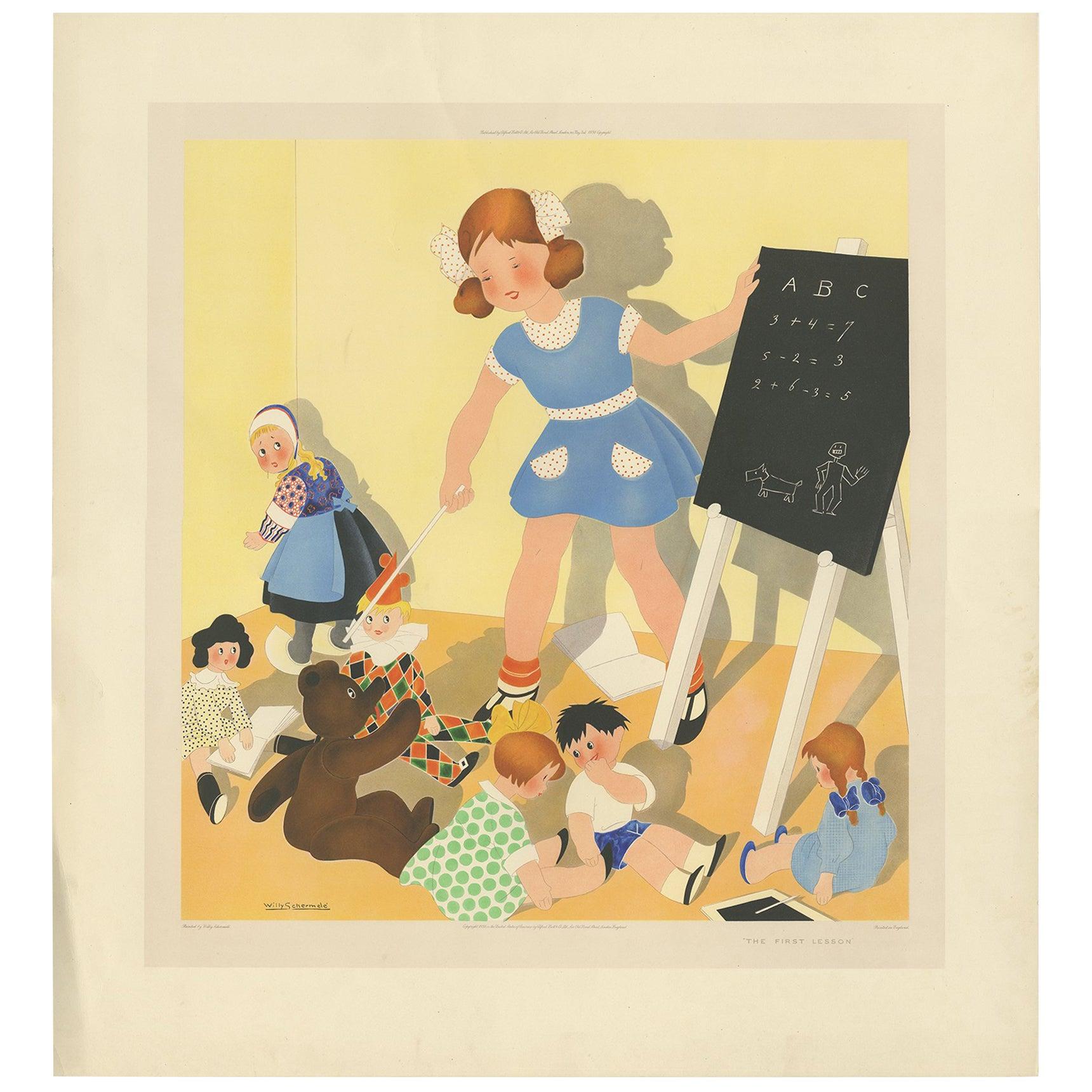 Antique Print 'The first Lesson' by W. Schermelé '1937'