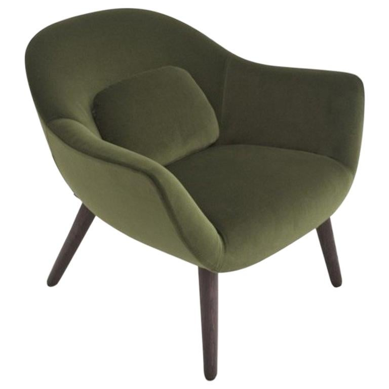Poliform Mad Armchair by Marcel Wanders in Velvet or Fabric Covering & Wood Legs For Sale