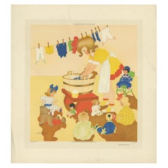 Antique Print 'Washing Day' by W. Schermelé, 1937