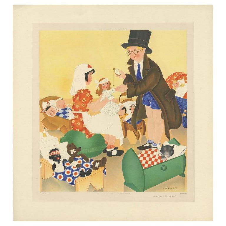 Antique Print 'Anxious Moments' by W. Schermelé, 1937 For Sale