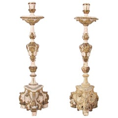 19 Century Carved Wood Cream and Gold Altar Candlesticks