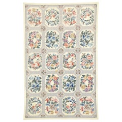 Vintage Chinese Floral Needlepoint Rug with French Country Style