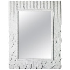 "Sculptural Mirror ""Evoluzione"" in Satin White Carrara Marble"