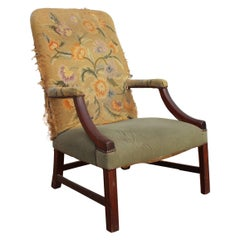 19th Century English Mahogany Armchair with Upholstery That Needs Repair