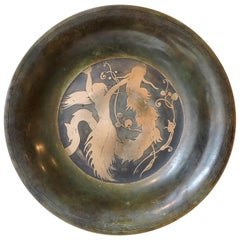 """""""The Little Mermaid"""" a Danish Modernist Art Deco Inlaid Bowl by Just Andersen"""