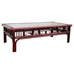1970s Spanish Oriental Style Red Wooden Coffee Table with Leather Binds