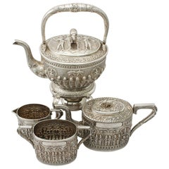 Antique Indian Sterling Silver 4-Piece Tea Service