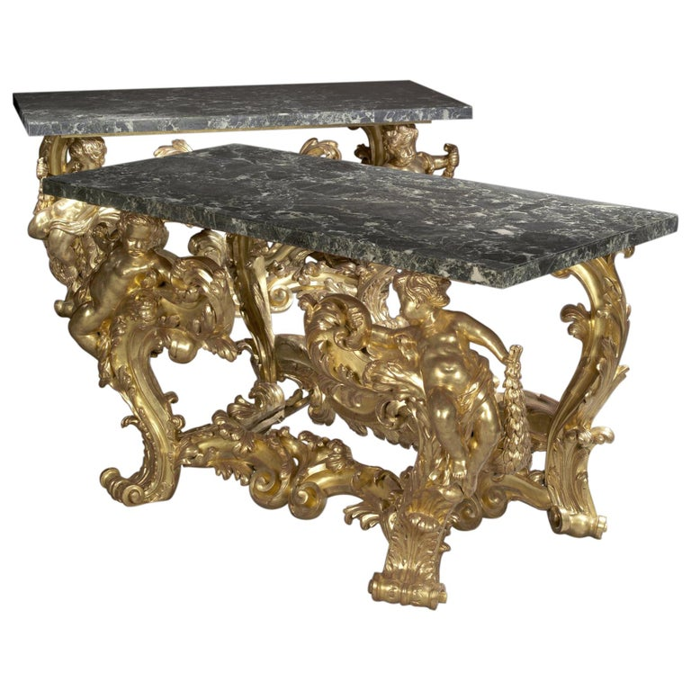 Pair of Palatial Giltwood Console Tables with Marble Tops, circa 1870 1