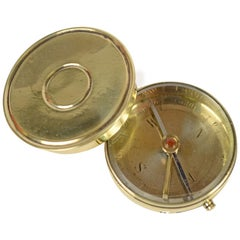 Small Brass Travel Compass with Lid of the Early 1900s