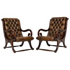 Pair of Antique Mahogany and Leather Armchairs