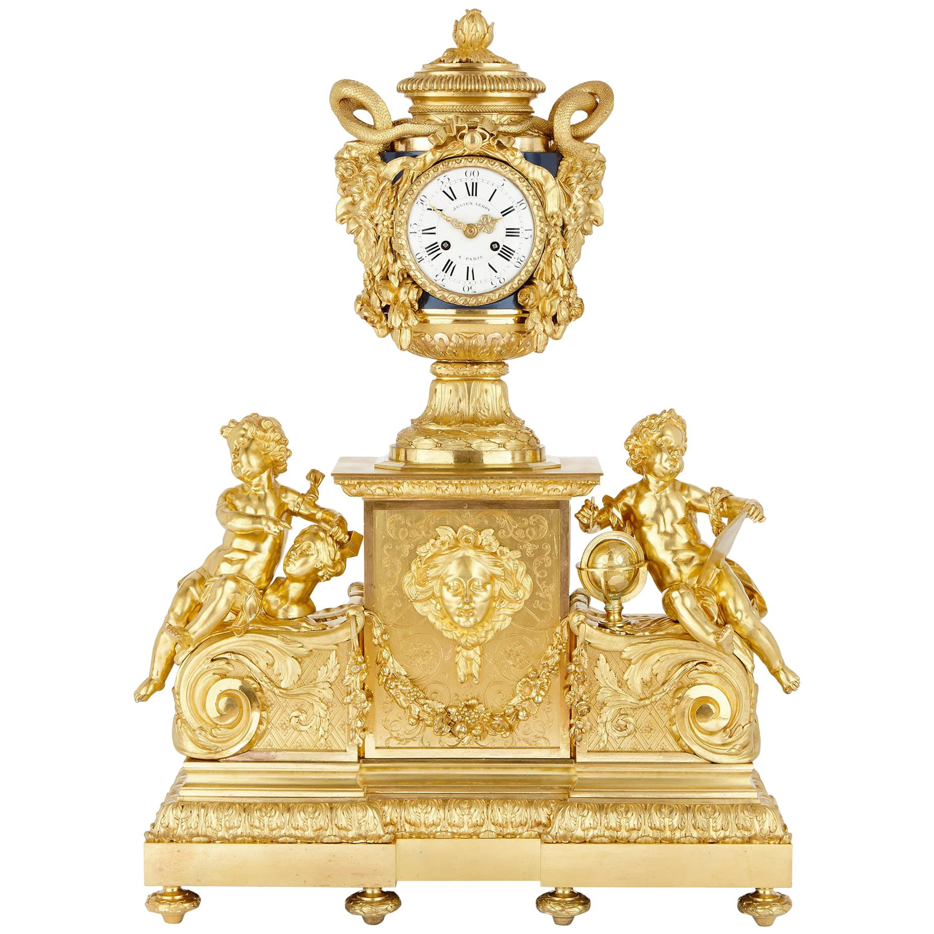 Monumental Napoleon III Period Gilt Bronze Clock after Le Roy