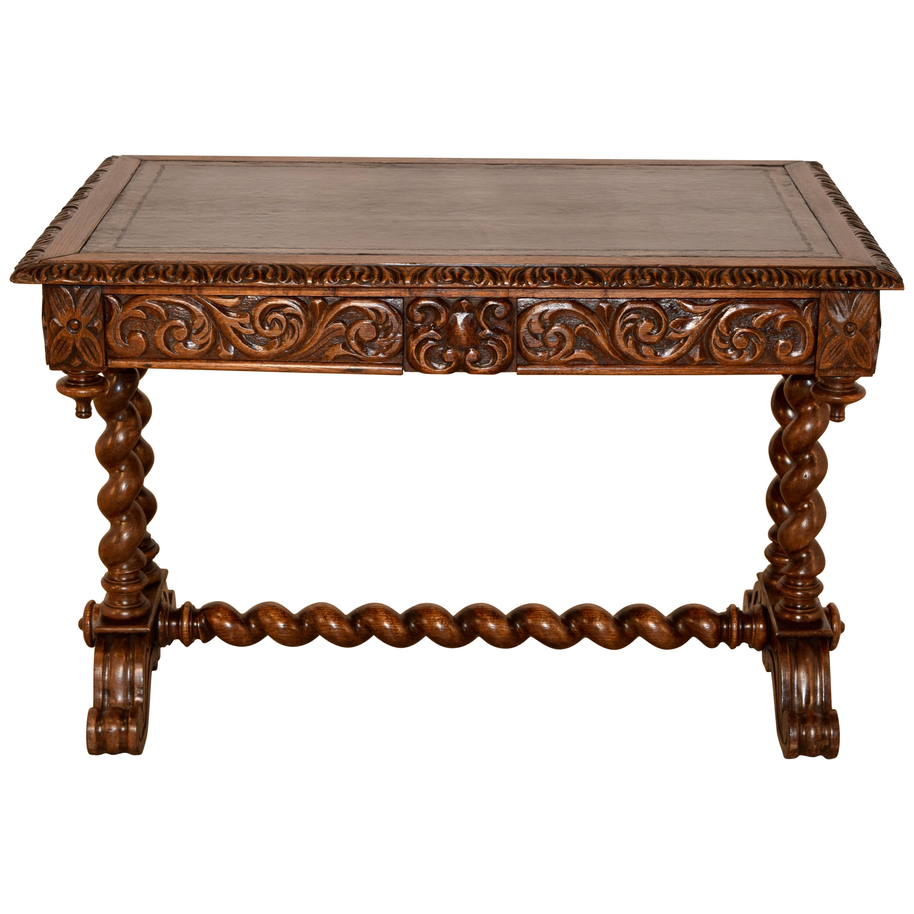 19th Century Carved Desk with Leather Top