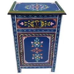 Moroccan Hand Painted Wooden Nightstand, 6