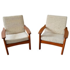 Pair of Lounge Chairs for Glostrup 1970s Danish Scandinavian Modern