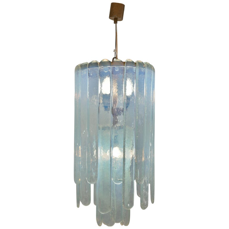 Carlo Nason Opalescent Chandelier For Sale