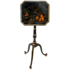 Regency Chinoiserie and Parcel-Gilt Decorated Telescoping Tilt-Top Table