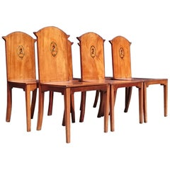 18th Century George III Period Mahogany Set of Six Country House Hall Chairs