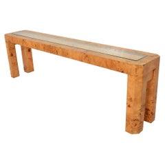 Extra Large Mid-Century Modern French Custom Ash Burlwood Console Table