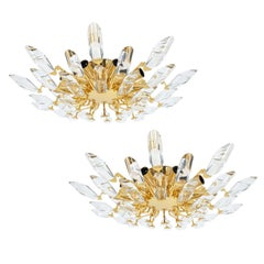 Pair of Italian Stilkrone Crystal Glass and Gilded Brass Flush Mounts