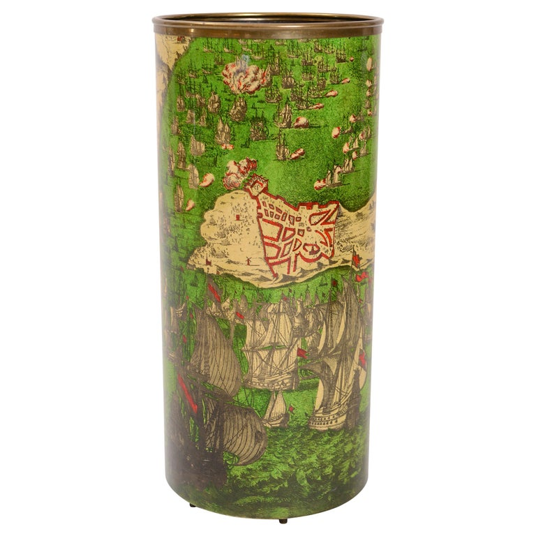 Vintage 'Battaglia Navale' Umbrella Stand by Piero Fornasetti, Italy circa 1950 For Sale
