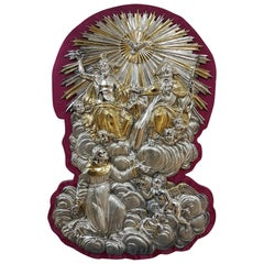 18th Century Silver Plaque Representing SS Trinità with Sant' Antony Da Padua