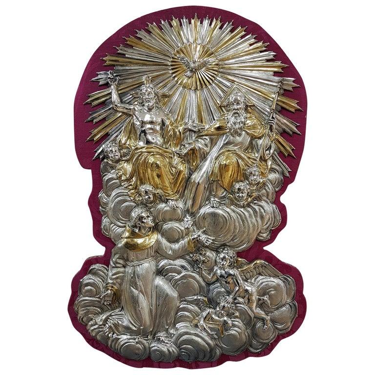 18th Century Silver Plaque Representing SS Trinità with Sant' Antony Da Padua For Sale