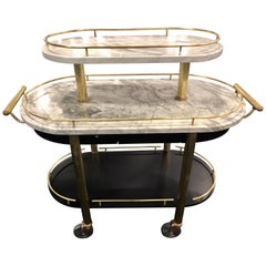 French Art Deco Three-Tier Brass and Carrera Marble Bistro Cart