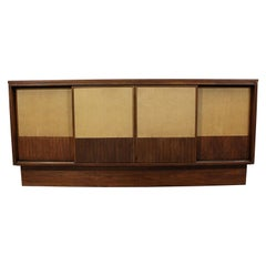 Mid-Century Modern Walnut Cane Sliding Door Credenza or Media Console