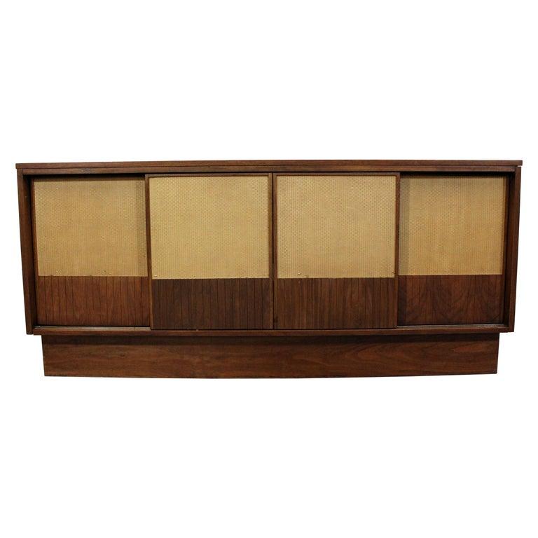 more photos 3879e 40c50 Mid-Century Modern Walnut Cane Sliding Door Credenza or Media Console