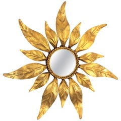 Spanish Mid-Century Modern Gilt Iron Leaf Design Mini Sized Sunburst Mirror