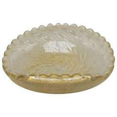 White and Gold Zanfirico Murano Glass Bowl, circa 1940