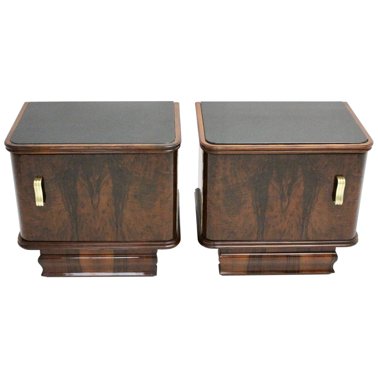 Art Deco Pair of Vintage Nightstands or Chests Austria, 1930s Walnut Brass