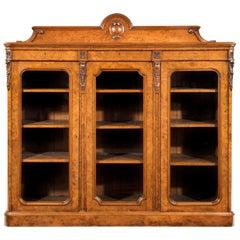 Large 19th Century Victorian Pollard Oak Three-Door Bookcase