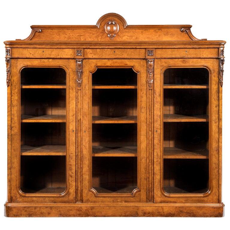 Large 19th Century Victorian Pollard Oak Three-Door Bookcase 1