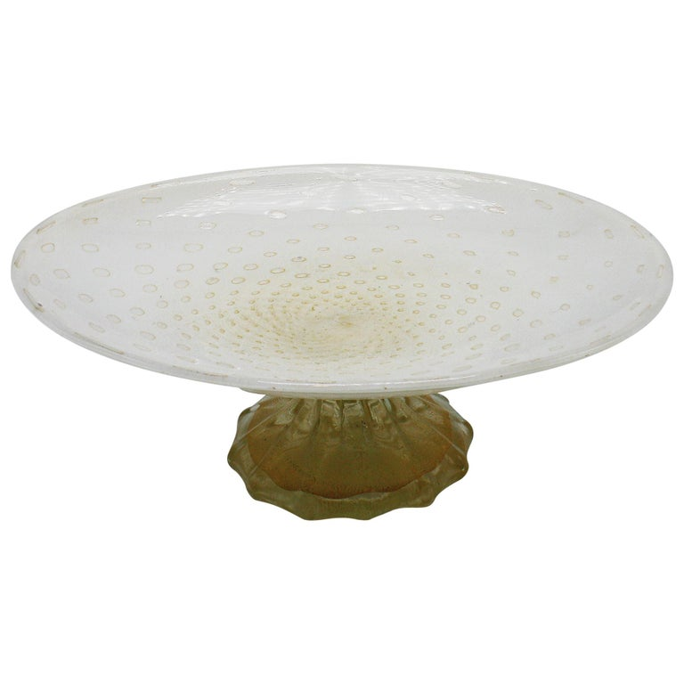 White Murano Glass Bowl on Gold Base, circa 1960 1