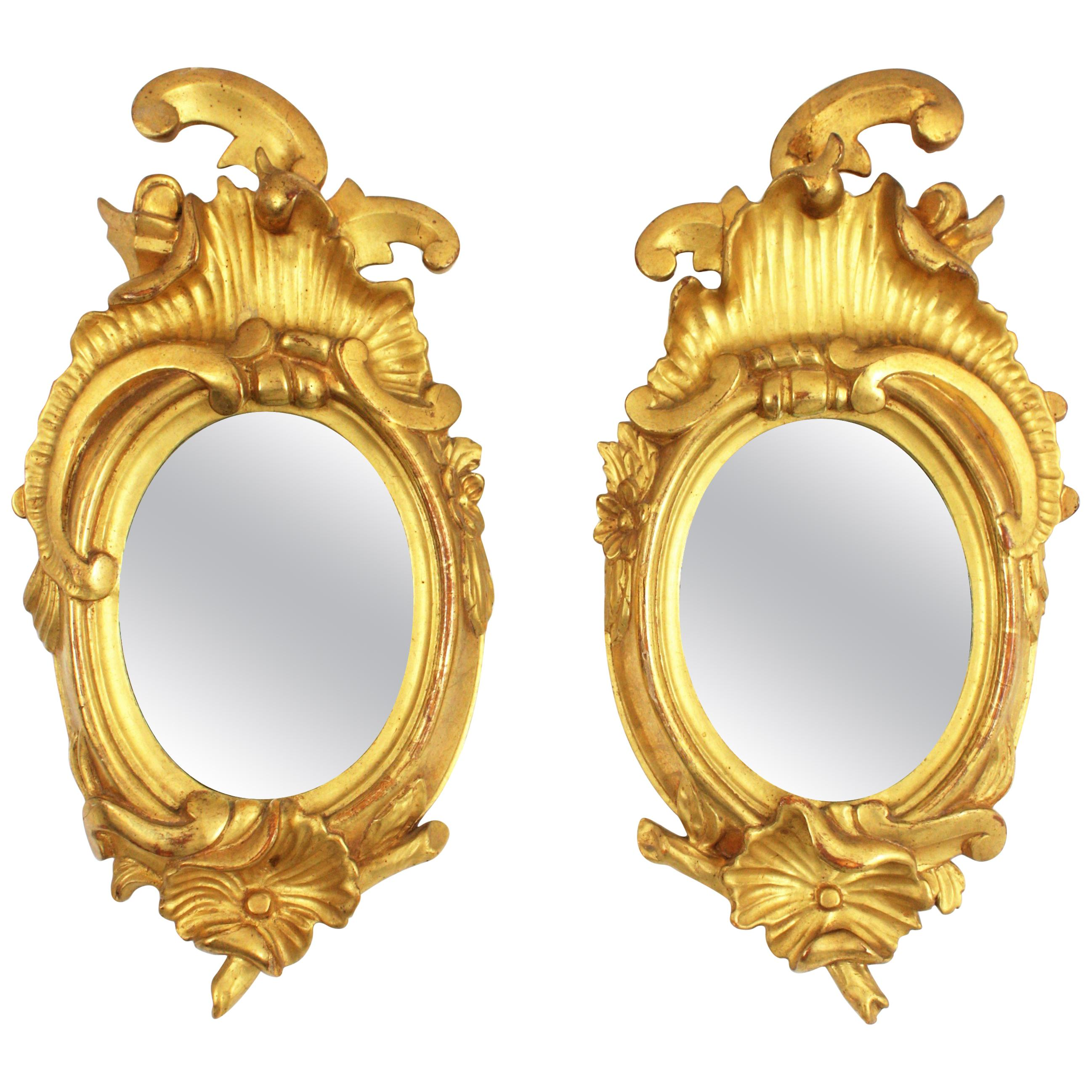 Pair of Art Nouveau Left and Right Gold Leaf Giltwood Mini Sized Mirrors