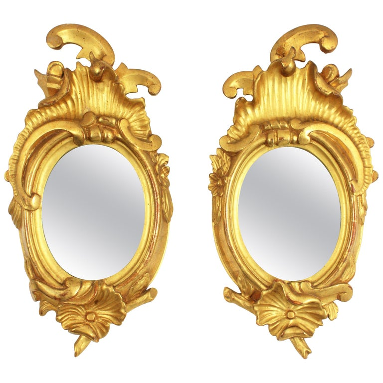 Pair of Art Nouveau Left and Right Gold Leaf Giltwood Mini Sized Mirrors For Sale