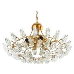 Italienische Stilkrone Kristall Glas und Vergoldete Messing Lampe