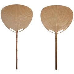 Pair of Huge Uchiwa Floor Lamps, Designed by Ingo Maurer, Germany, 1970s