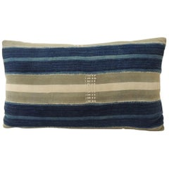 Vintage Indigo and Natural Yoruba and Baule Warp Decorative Lumbar Pillow