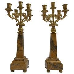 Paar des 19ten Jahrhunderts Napoleon III vergoldete Bronze und Siena Marmor Kandelaber