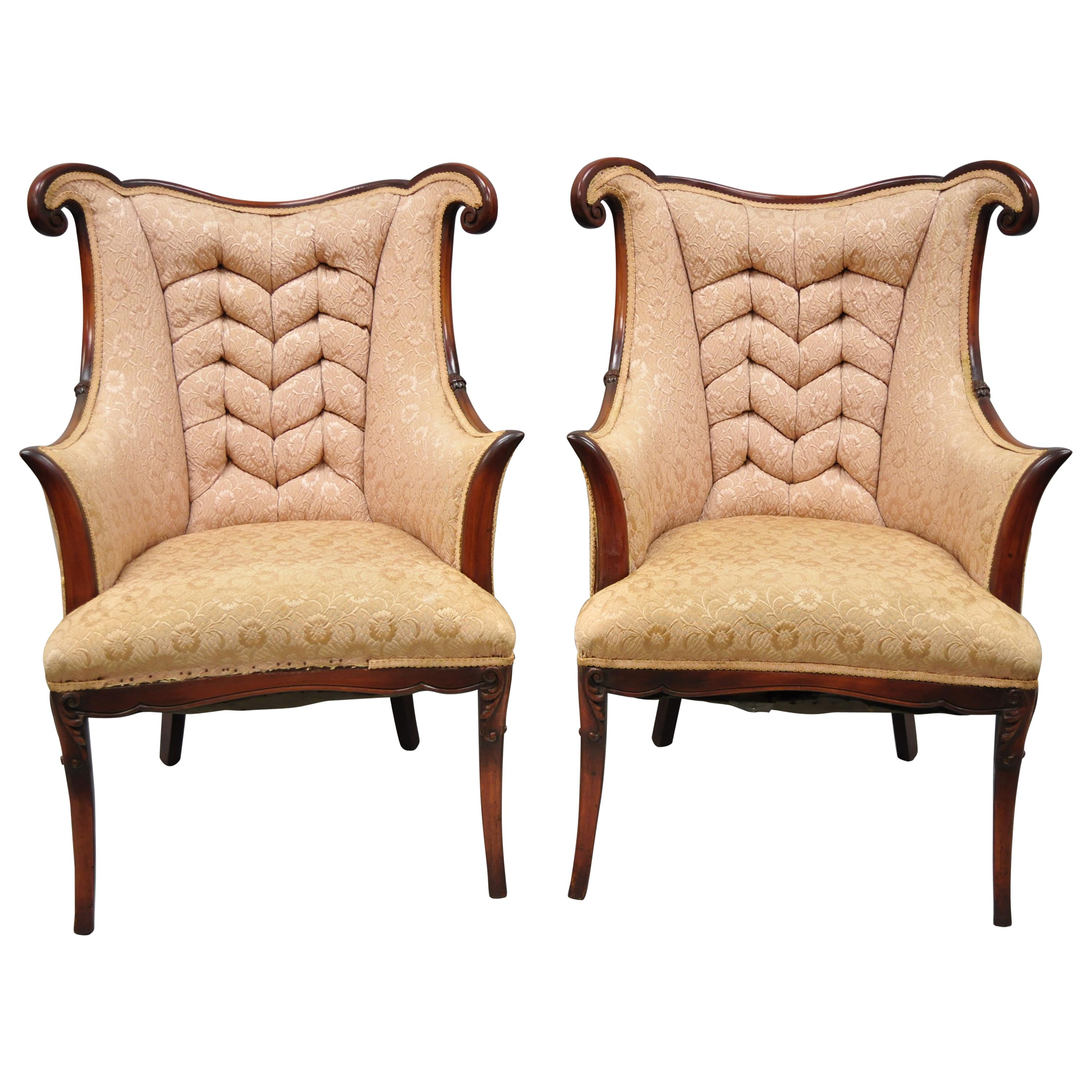 Pair of Hollywood Regency French Style Mahogany Armchairs after Dorothy Drapes