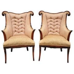 Paar Mahagoni-Sessel im Stil von Dorothy Drapes, Hollywood Regency