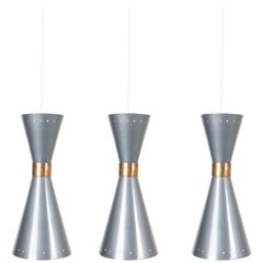 Set of Three Diabolo Pendant Lamps Attributed BAG Turgi, circa 1955