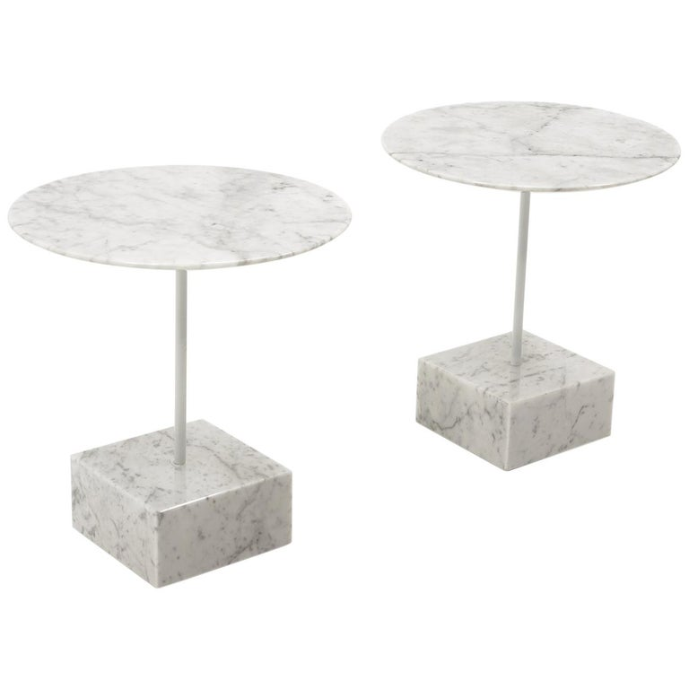 """Pair of """"Primavera"""" Marble Side Tables, Ettore Sottsass, Ultime Edizioni, Italy For Sale"""