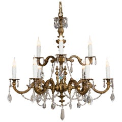 Antique French Louis XVI Style Bronze Crystal Two-Tier Chandelier, circa 1890